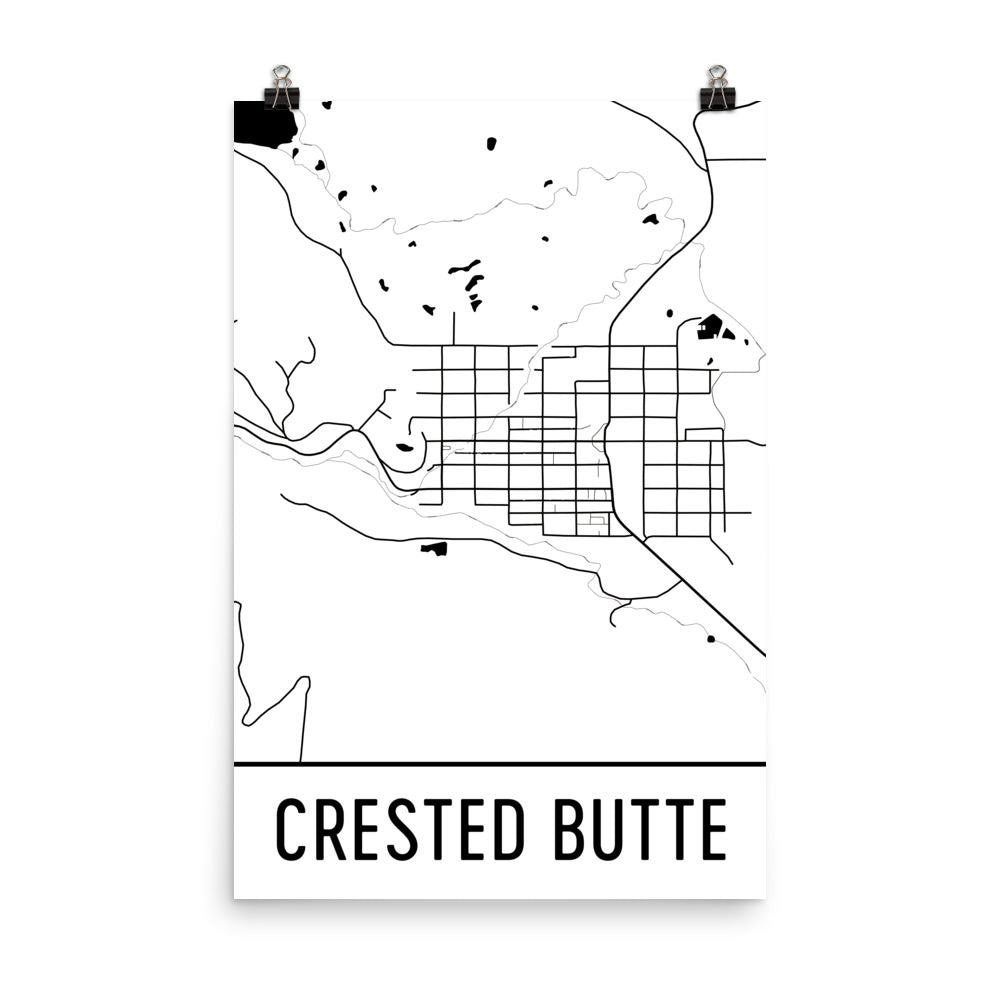 Crested Butte CO Street Map Poster White