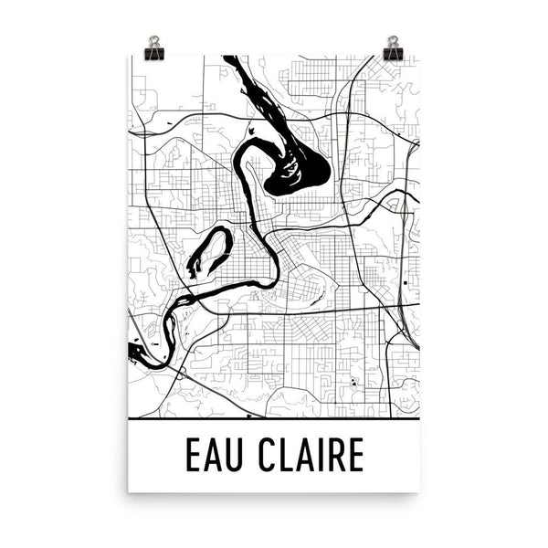 Eau Claire WI Street Map Poster White