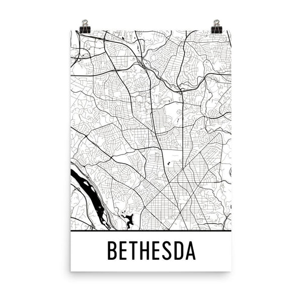 Bethesda Maryland Street Map Poster White