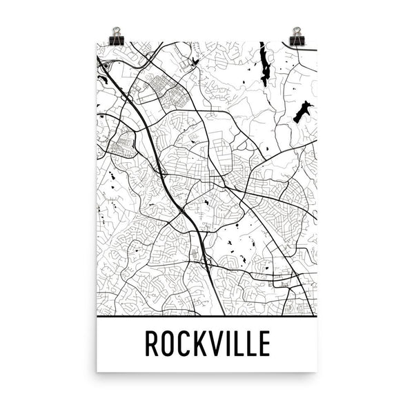 Rockville Maryland Street Map Poster White