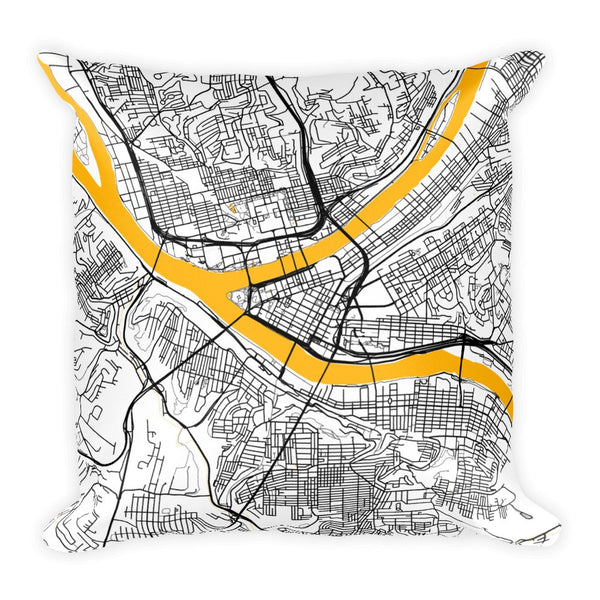 Pittsburgh black and white throw pillow with city map print 12x20