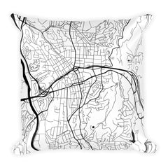 Asheville black and white throw pillow with city map print 18x18
