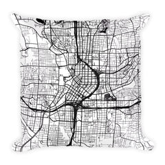 Atlanta black and white throw pillow with city map print 18x18