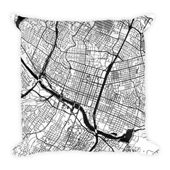 Austin black and white throw pillow with city map print 18x18