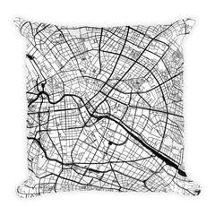 Berlin black and white throw pillow with city map print 18x18