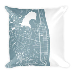 Bethany Beach black and white throw pillow with city map print 18x18