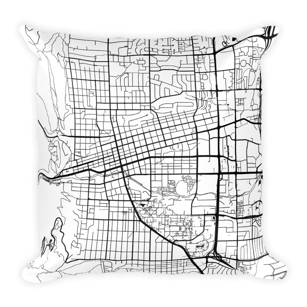 Boulder black and white throw pillow with city map print 12x20