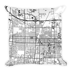 Champaign black and white throw pillow with city map print 18x18