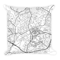 Chapel Hill black and white throw pillow with city map print 18x18