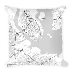 Charleston black and white throw pillow with city map print 18x18