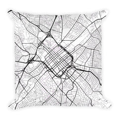 Charlotte black and white throw pillow with city map print 18x18