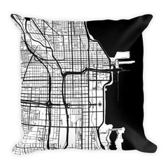 Chicago black and white throw pillow with city map print 18x18