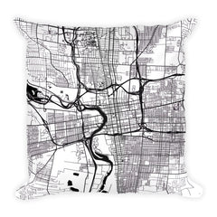 Columbus black and white throw pillow with city map print 18x18