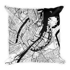 Copenhagen black and white throw pillow with city map print 18x18