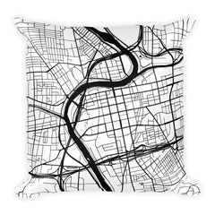 Dayton black and white throw pillow with city map print 18x18