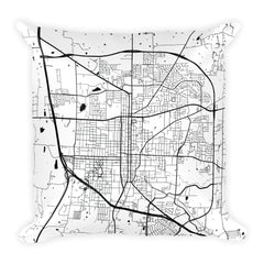 Denton black and white throw pillow with city map print 18x18