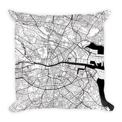 Dublin black and white throw pillow with city map print 18x18