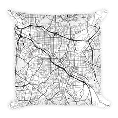 Durham black and white throw pillow with city map print 18x18