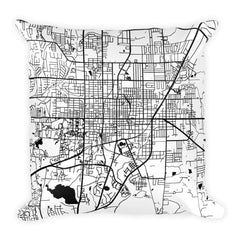 Gainesville black and white throw pillow with city map print 18x18