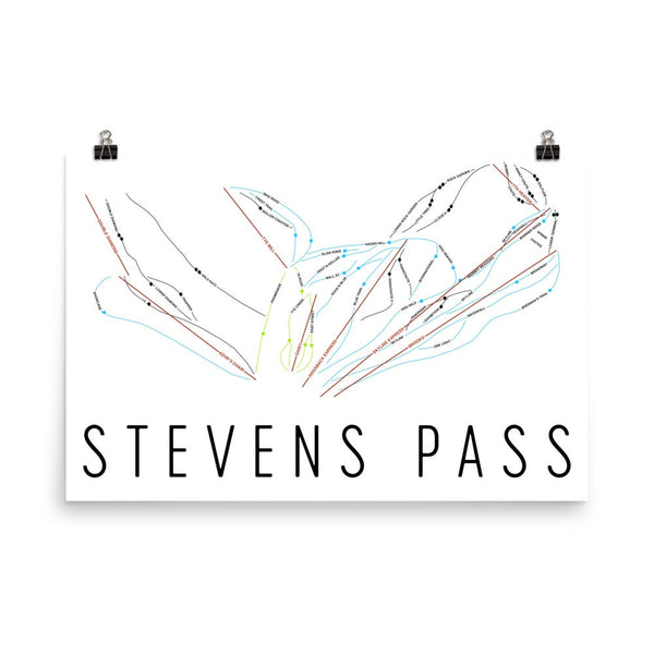 Stevens Pass Ski Trail Map Poster 12x18