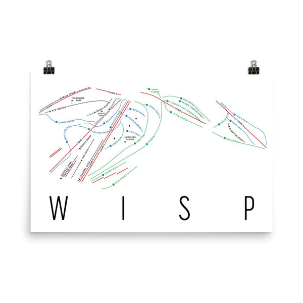 Wisp Ski Trail Map Poster 12x18