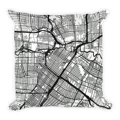 Houston black and white throw pillow with city map print 18x18