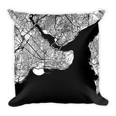 Istanbul black and white throw pillow with city map print 18x18