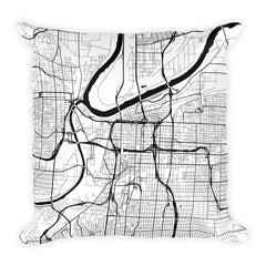 Kansas City black and white throw pillow with city map print 18x18