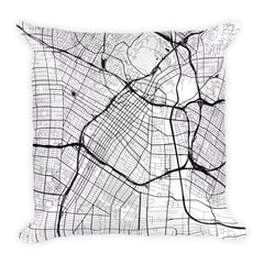 Los Angeles black and white throw pillow with city map print 18x18