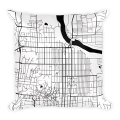 Lawrence black and white throw pillow with city map print 18x18