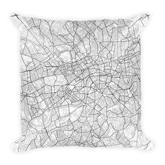 London black and white throw pillow with city map print 18x18