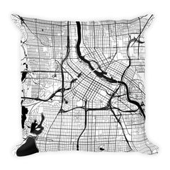 Minneapolis black and white throw pillow with city map print 18x18