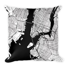 New York black and white throw pillow with city map print 18x18