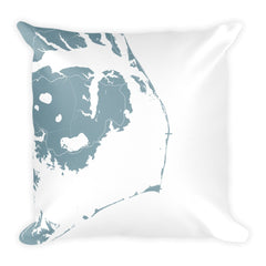 Outer Banks NC black and white throw pillow with city map print 18x18 Blue