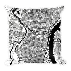 Philadelphia PA black and white throw pillow with city map print 18x18