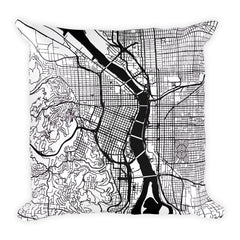 Portland OR black and white throw pillow with city map print 18x18