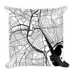 Providence black and white throw pillow with city map print 18x18