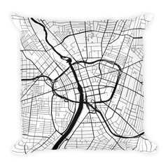 Rochester black and white throw pillow with city map print 18x18