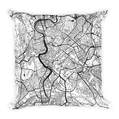 Rome black and white throw pillow with city map print 18x18