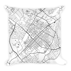 State College black and white throw pillow with city map print 18x18