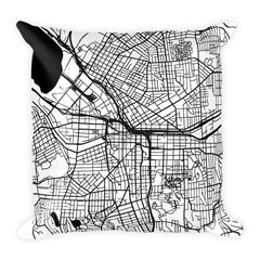 Syracuse black and white throw pillow with city map print 18x18