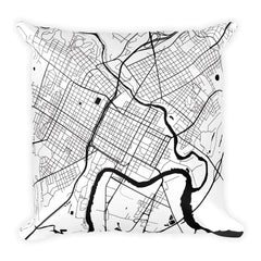 Wilmington black and white throw pillow with city map print 18x18