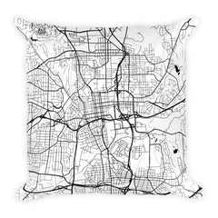 Winston Salem black and white throw pillow with city map print 18x18