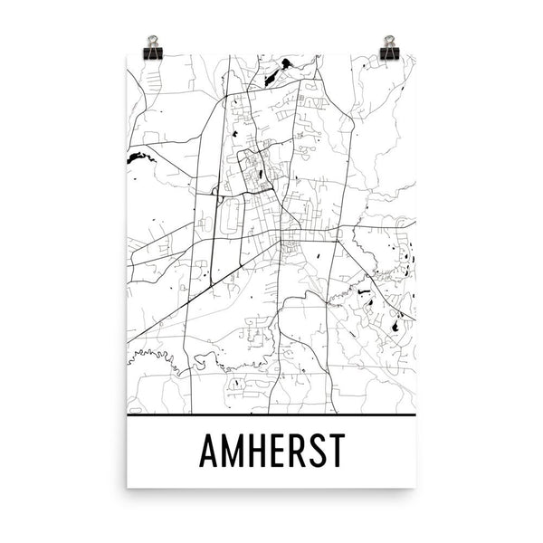 Amherst MA Street Map Poster White
