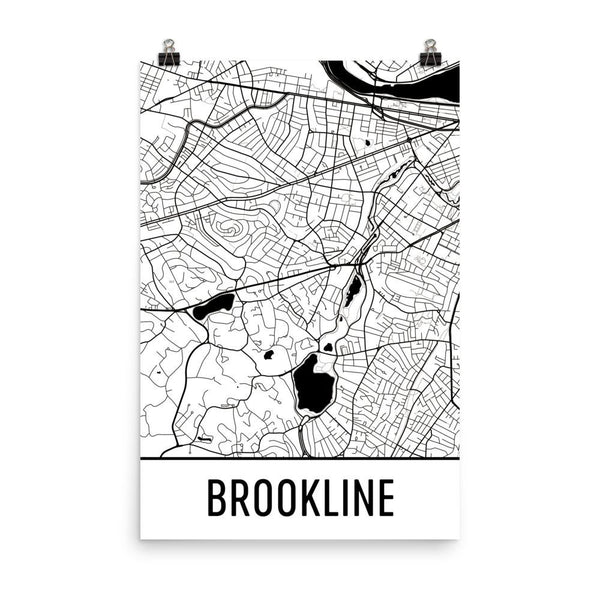 Brookline MA Street Map Poster White