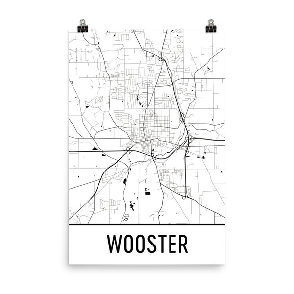 Wooster OH Street Map Poster White