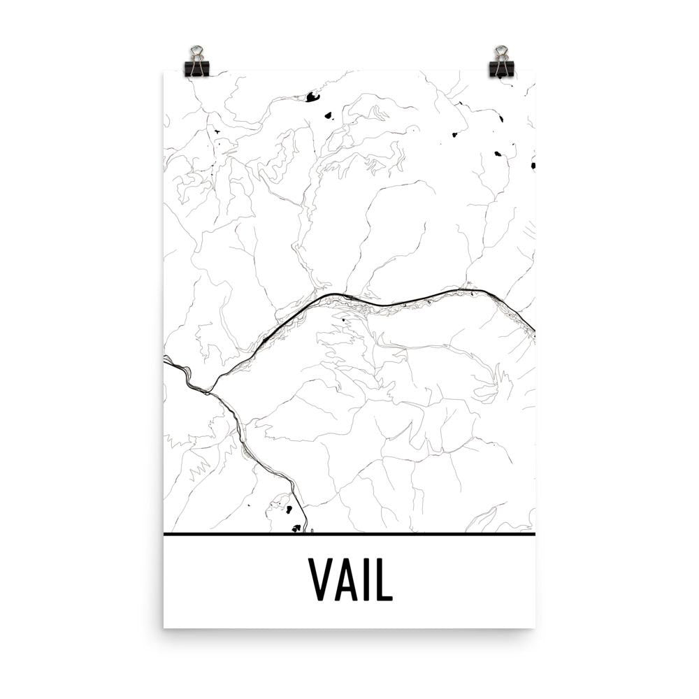 Vail CO Street Map Poster White