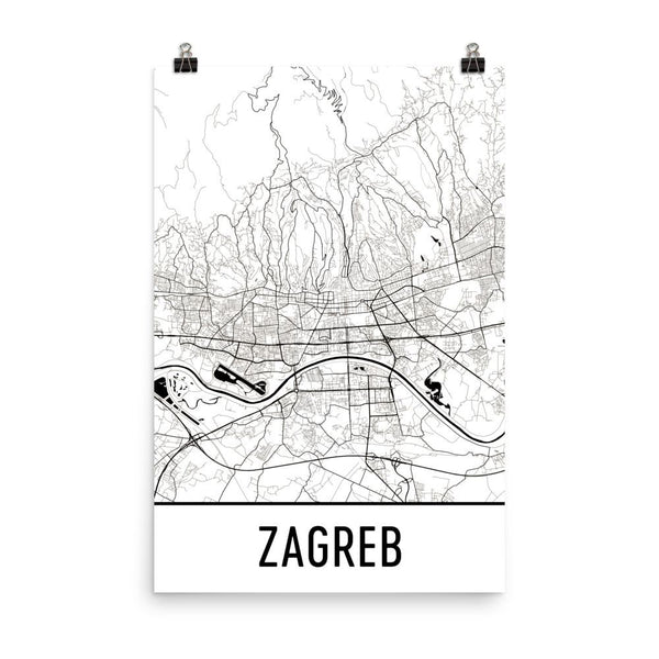 Zagreb Croatia Street Map Poster White