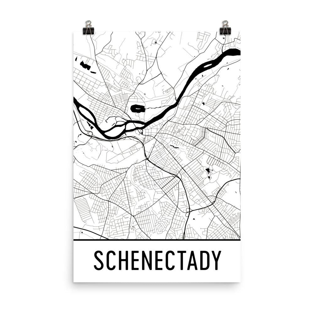 Schenectady NY Street Map Poster White