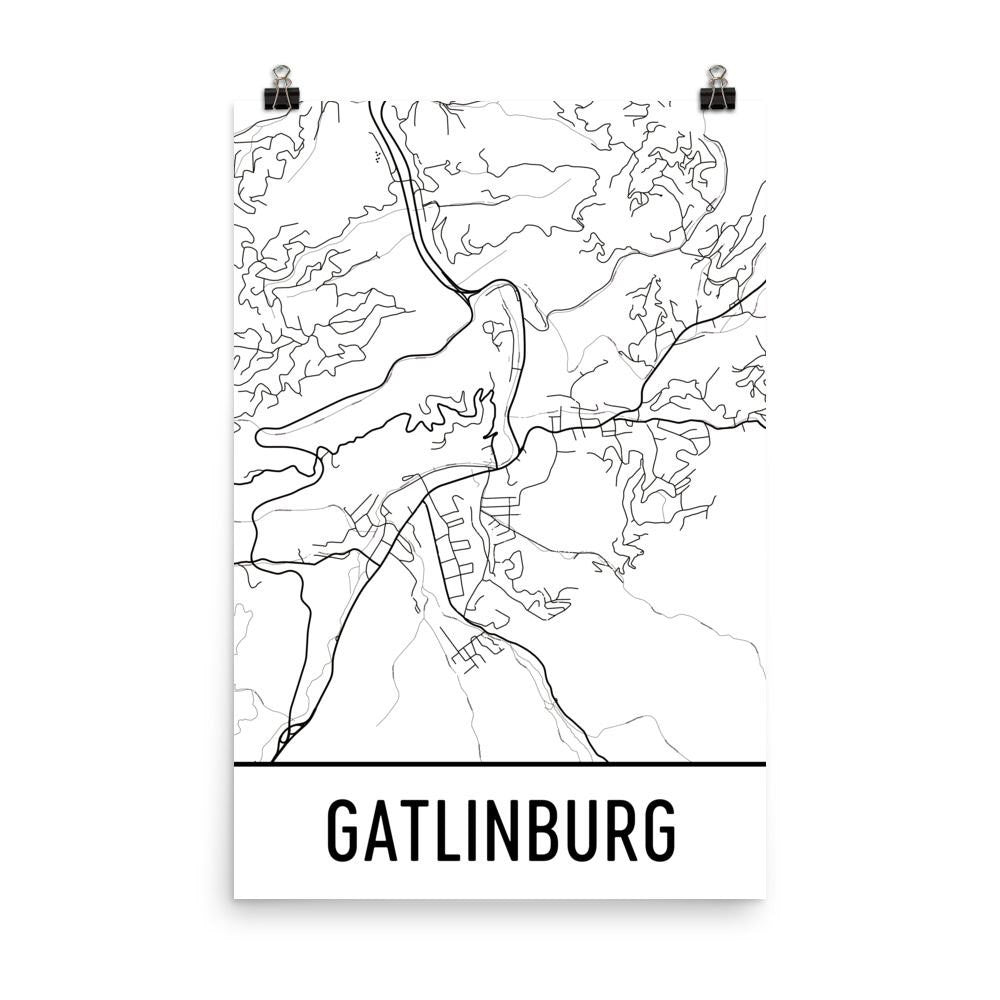 Gatlinburg TN Street Map Poster White